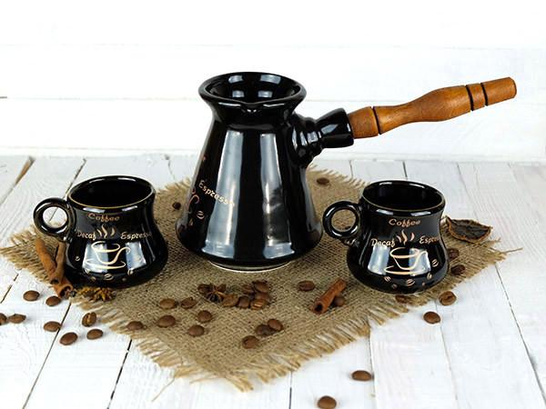 Турка Конус керамічна з дерев'яною ручкою в наборі з чашками 300 мл