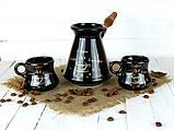 Турка Конус керамічна з дерев'яною ручкою в наборі з чашками 300 мл, фото 2