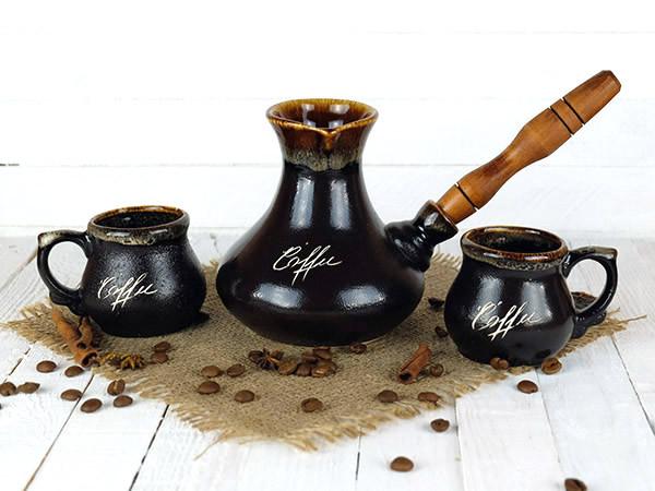 Турка «Восточная» керамическая с деревянной ручкой и чашками в наборе