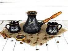Турка Лотос керамічна з дерев'яною ручкою в наборі з чашками 450 мл