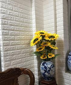 3D панель самоклеящая Обои под декоративный кирпич Самоклейка 3Д Белый кирпич толщина 5мм
