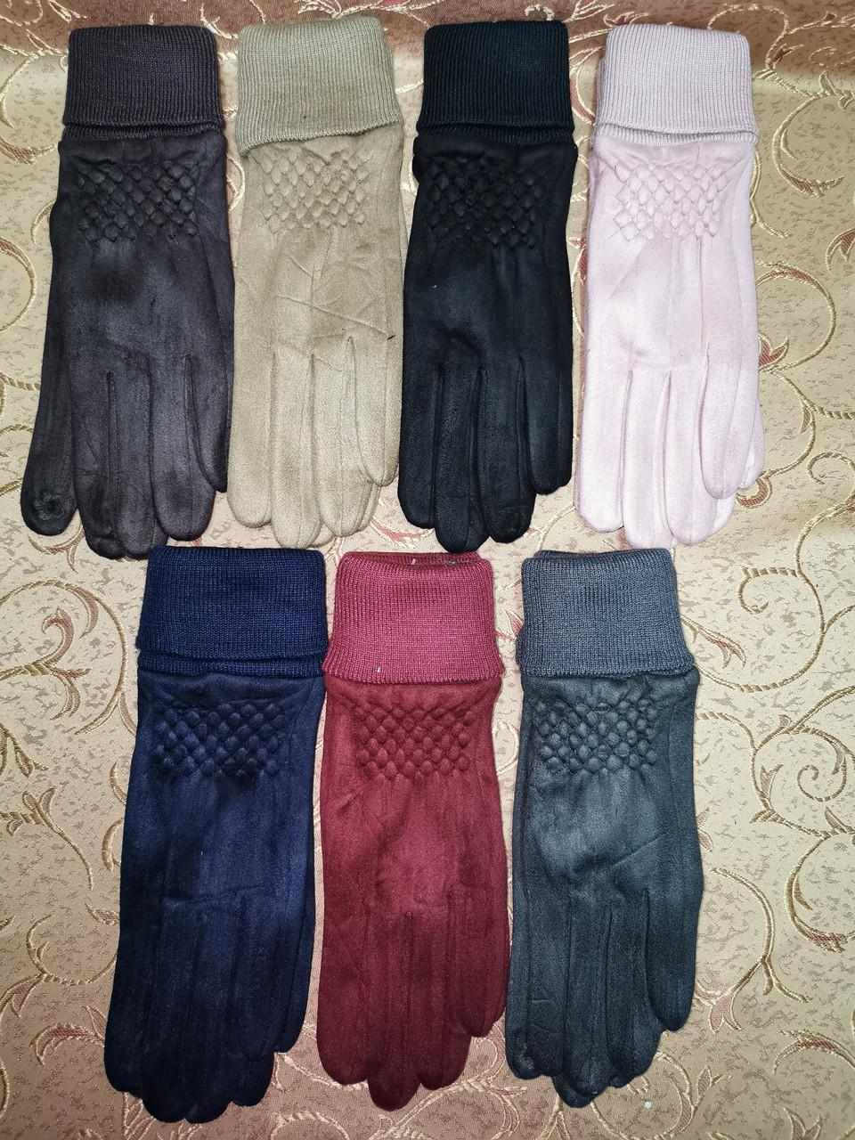 Замш на манжете с сенсором качество женские перчатки для работы на телефоне плоншете стильные только опт