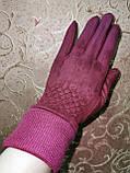 Замш на манжете с сенсором качество женские перчатки для работы на телефоне плоншете стильные только опт, фото 2