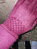 Замш на манжете с сенсором качество женские перчатки для работы на телефоне плоншете стильные только опт, фото 3
