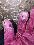 Замш на манжете с сенсором качество женские перчатки для работы на телефоне плоншете стильные только опт, фото 4