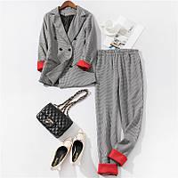 Женский брючный костюм в гусиную лапку  пиджак и брюки