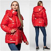 Модная лаковая зимняя куртка с поясом, удлинённая оверсайз 46, Красный