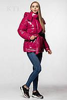 Модная лаковая зимняя куртка с поясом, удлинённая оверсайз 46, Малиновый