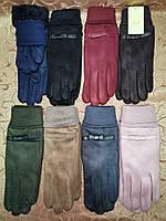 Замш на манжете с Арктический бархат женские перчатки стильные только опт, фото 1
