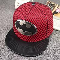 Кепка снепбек Бэтмен с прямым козырьком Красная, Унисекс, фото 1