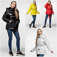 Модная лаковая зимняя куртка-парка с поясом, оверсайз
