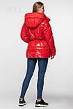 Модная лаковая зимняя куртка-парка с поясом, оверсайз, фото 2
