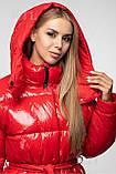 Модная лаковая зимняя куртка-парка с поясом, оверсайз, фото 3