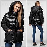 Модная лаковая зимняя куртка-парка с поясом, оверсайз, фото 6