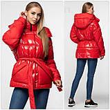 Модная лаковая зимняя куртка-парка с поясом, оверсайз, фото 7