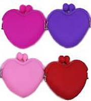 """Кошелек детский  силиконовый 301-6 """"Сердце"""", (замочек- поцелуйчики) 4цвета уп12"""