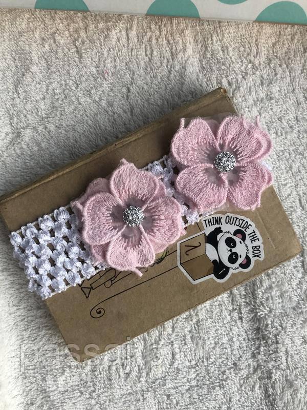 Пов'язка з рожевими квітами для маляти, дитини, дівчинки