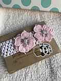 Пов'язка з рожевими квітами для маляти, дитини, дівчинки, фото 2