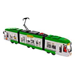 Игрушка Городской Трамвай 46 см зеленый (звук, свет) Big Motors 1258