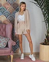 Женский костюм тройка (шорты и пиджак беж, майка белая, ткань - габардин) Размер S, M, L (розница и опт)