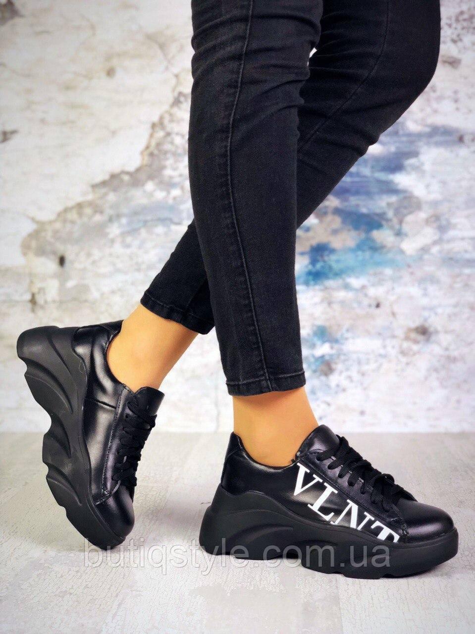 39,40 размер Женские черные кроссовки VLNT натуральная кожа на платформе