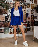 Костюм женский тройка (шорты и пиджак синий, майка белая, ткань габардин) Размер S, M, L (розница и опт)