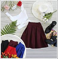 Юбка в складку (цвет - бордо, ткань - габардин) Размеры S,М,L (розница и опт)