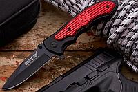 Нож складной с металлической рукояткой,  черно-красного цвета, фальшлезвие без заточки, «флиппер», практичный, фото 1