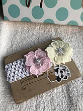 Повязка с розовыми цветами для малыша, новорожденного, девочки
