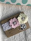 Повязка с розовыми цветами для малыша, новорожденного, девочки, фото 2