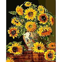 Картина раскраска по номерам на холсте 40*50см Babylon VP946 Подсолнухи в вазе с павлинами