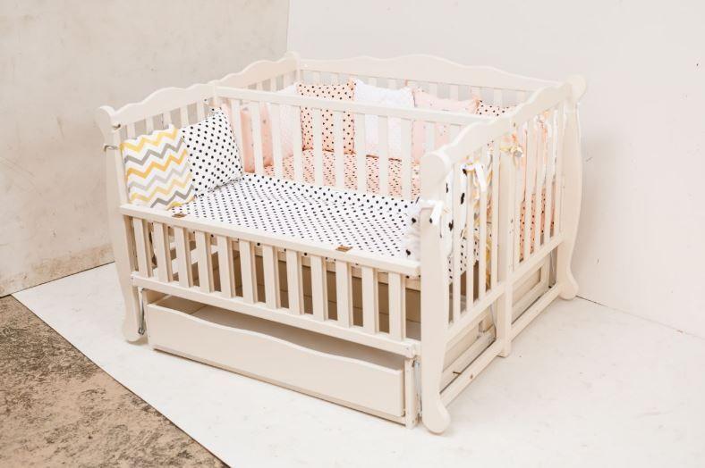 """Детская кроватка для двойни Гойдалка """"DUO"""" (откид.бок, ящ.), в ассортименте"""