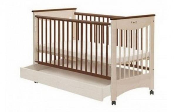 Детская кроватка с ящиком Drewex - Mocca, цвет слоновая кость/коричневый