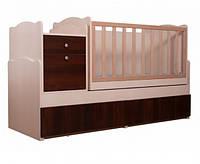 """Детская кроватка-трансформер Вальтер """"Дадон"""", цвет светлый-темный орех"""
