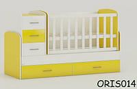 Детская кровать-трансформер Oris Maya, цвет бело-желтый