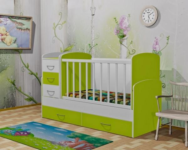 Детская кровать-трансформер Oris Maya, цвет бело-зеленый