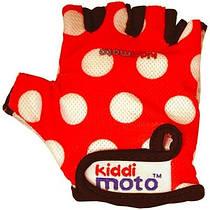 Детские защитные перчатки Kiddi Moto М, цвет красные в белый горошек