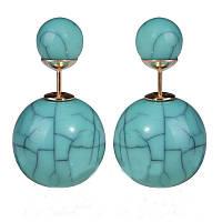 Серьги шарики в стиле Mise en Dior из искусственного камня бирюзовые