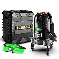 Лазерный уровень DEKO 4V1H 5 линий 6 точек - ЗЕЛЕНЫЕ линии - самовыравнивающийся нивелир ДЕКО DKLL501