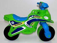 "Детский беговел-мотоцикл ""МотоБайк Спорт"" (звук), цвет зелено-синий"