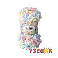 Alize Puffy Fine Color №5949 бело-желто-розово-голубо-мятный