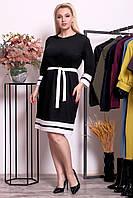 Женское однотонное платье с белой окантовкой батал 48-62  ео10224