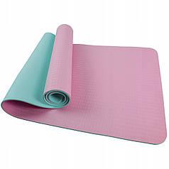 Коврик (мат) для йоги и фитнеса SportVida TPE 6 мм SV-HK0227 Pink/Sky Blue