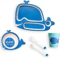 Детская посуда smart Детская бамбуковая посуда Кит, набор из 2-х тарелок, чашки, ложки и вилки BP14 Whale SKU_508150