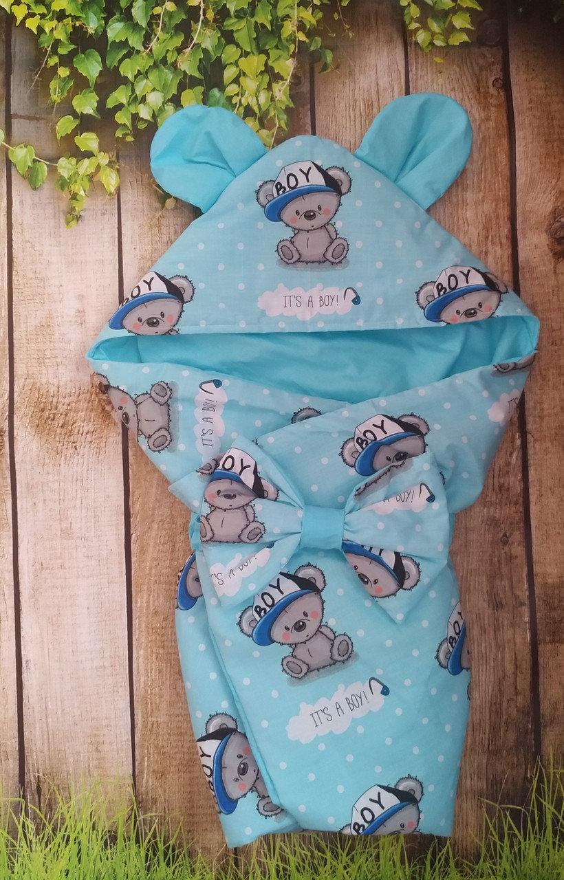 Демисезонный конверт на выписку Мишки, конверт- одеяло для новорожденного весна/лето/осень