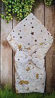 Двухсторонний конверт- плед  для новорожденных Мишки