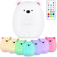 Детский силиконовый ночник-игрушка ETEYV «Мишка Умка» (ORIGINAL) с пультом, 7 цветов, работает от аккумулятора