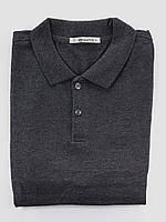 Мужская футболка Поло, 100% хлопок, размеры 46,48,50,52,54 - темно серая