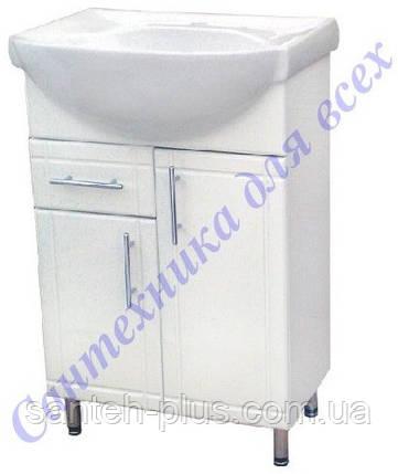 Тумба с раковиной и выдвижными ящиком на ножках в ванную Стиа-60 Т3/4, фото 2