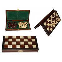 Шахматы магнитные малые коричневые  23.5х11.5х3.5см (король-45мм)